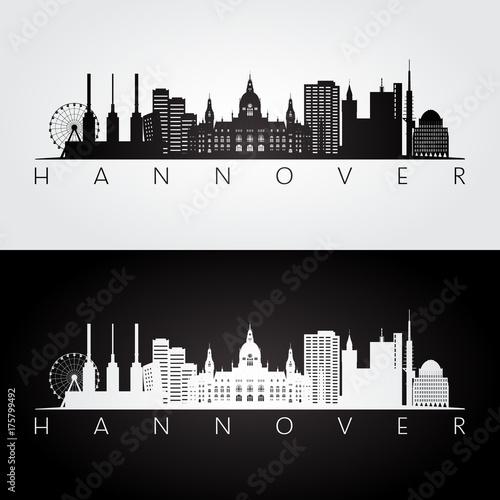 Hannover skyline and landmarks silhouette, black and white design, vector illustration.
