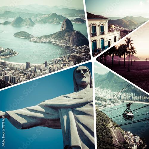 In de dag Rio de Janeiro Collage of Rio de Janeiro (Brazil) images - travel background (my photos)