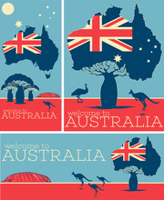 Welcome To Australia Vintage Poster Set