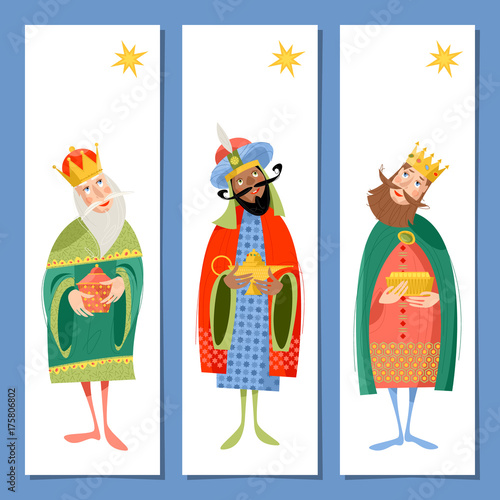 Set of 3 universal Christmas greeting cards  and bookmarks with three biblical Kings: Caspar, Melchior and Balthazar Canvas Print