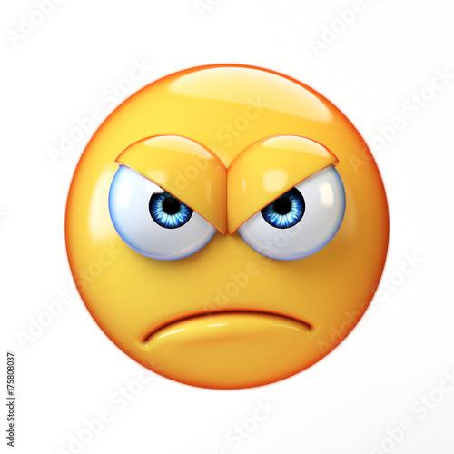Bad Emoji Isolated On White Background Upset Emoticon 3d Rendering