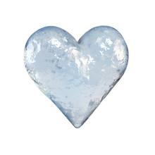 Heart Shaped Piece Of Ice, Frozen Heart 3d Rendering
