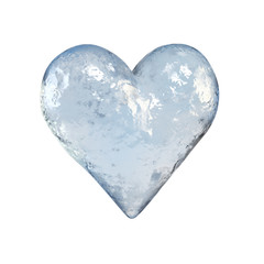 Heart shaped piece of ice, frozen heart 3d rendering