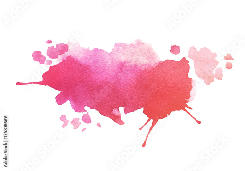 Cuadros en Lienzo Abstract pink colorful vector watercolor stain