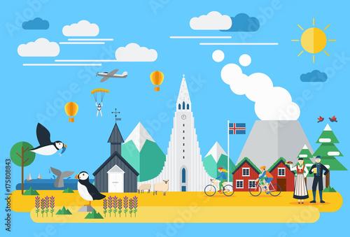 Fényképezés  Flat design, Iceland landmarks and icons, Vector Illustration