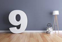 Mock Up Interior Font 3d Rendering Number 9