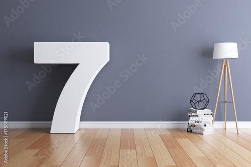 Fotografía  Mock up interior font 3d rendering number 7