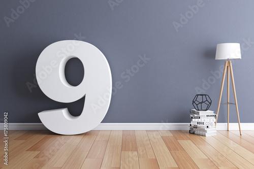 Papel de parede  Mock up interior font 3d rendering number 9