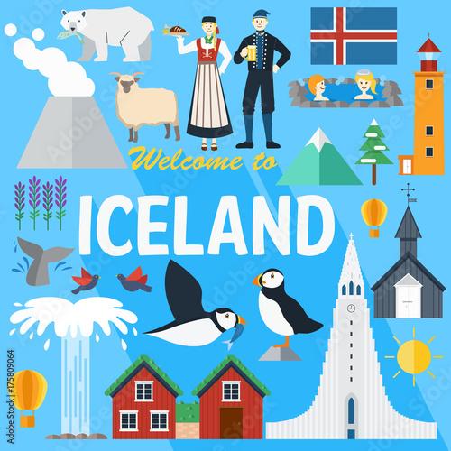 Płaska konstrukcja, Islandia punktów orientacyjnych i ikony, ilustracji wektorowych