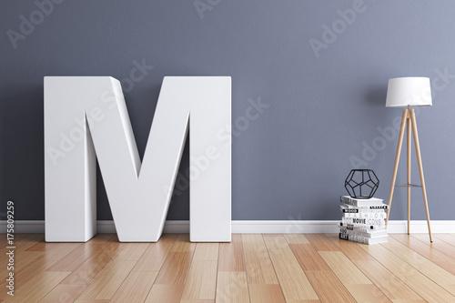 Photo  Mock up interior font 3d rendering letter M