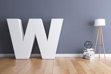 Mock Up Interior Font 3d Rendering Letter W