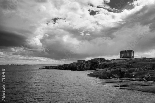 Fototapety, obrazy: Clouds are gathering above small island in Finnish archipelago