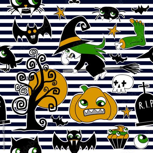 Zdjęcie XXL Wzór łat elementów halloweenowych: dynia, czaszka, pająk, śluz, kot, nietoperz, kość.