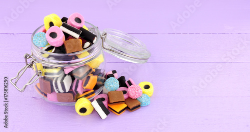 Photo Jar filled with  traditional liquorice allsorts candy