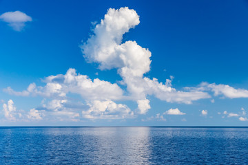 Beautiful white clouds over ocean, Maldives