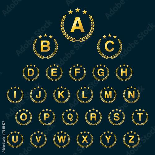 ddbd388d Golden star Laurel wreath. Laurel wreath logo icon with capital alphabet  letters. Design template elements - Letter A to Z.
