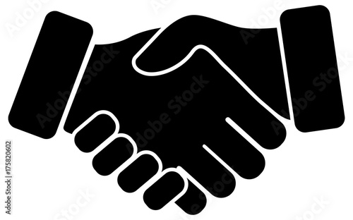 Hand shake black vector icon Canvas Print