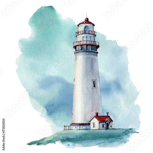 hand drawn watercolor lighthouse illustrstion Wall mural