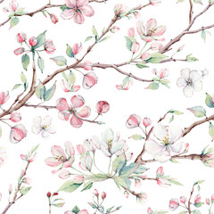 Naklejkahand drawn apple tree branches and flowers seamless pattern