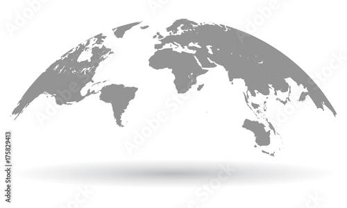 Czarna mapa świata glob na białym tle - wektor