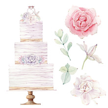 Watercolor Wedding Cake Illust...