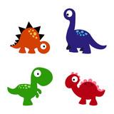 Fototapeta Dinusie - set cartoon dinosaurs