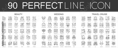 Fotografía  90 outline mini concept infographic symbol of icons beauty, wedding, travel cruise