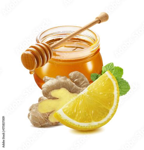 Photo  Honey, lemon, ginger, mint isolated on white background