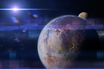 habitable alien planet with moon and the Milky Way galaxy