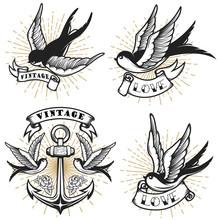 Set Of Vintage Style Tattoo Wi...