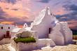 Leinwanddruck Bild - Mykonos island, Cyclades, Greece. Panagia Paraportiani Church in Mykonos. A beautiful old white chapel.