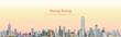 vector illustration of Hong Kong city skyline at sunrise