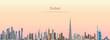 vector illustration of Dubai city skyline at sunrise