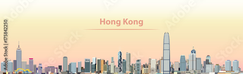 vector illustration of Hong Kong city skyline at sunrise Wallpaper Mural