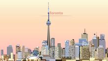 Vector Illustration Of Toronto City Skyline At Sunrise