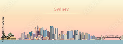 Photo vector illustration of Sydney city skyline at sunrise