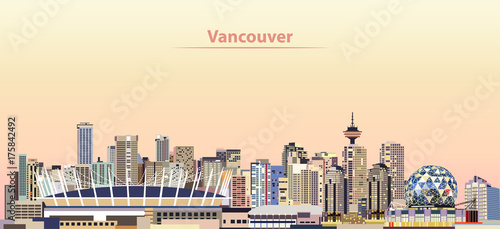 Cuadros en Lienzo vector illustration of Vancouver city skyline at sunrise