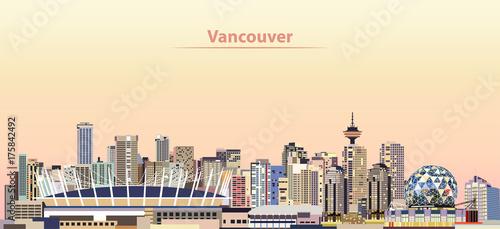 Fotografía vector illustration of Vancouver city skyline at sunrise
