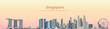 vector illustration of Singapore city skyline at sunrise