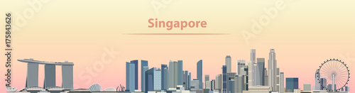 vector illustration of Singapore city skyline at sunrise Wallpaper Mural