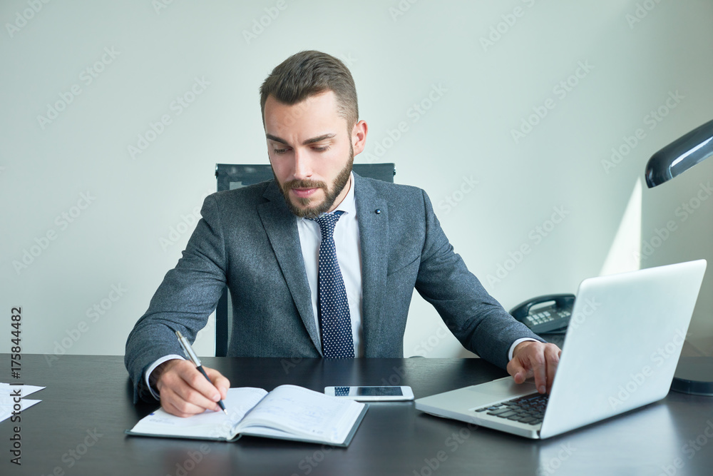 Fototapeta Portrait of handsome successful businessman working with laptop sitting at big desk in modern office, writing something in planner