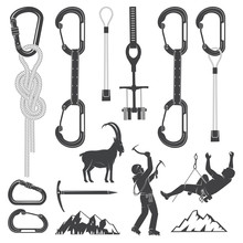 Set Of Alpine Climbing Equipment Silhouette Icons.