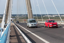 Traffic At Pont De Normandie, French Bridge Over River Seine Near Le Havre And Honfleur