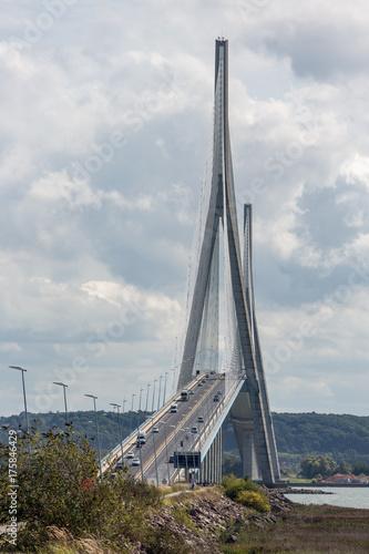 Pont de Normandie, bridge over river Seine between Le Havre and Honfleur in Fran Poster