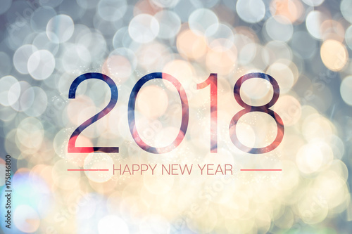 Fotografia, Obraz  Happy new year 2018 with pale yellow bokeh light sparkling background,Holiday gr