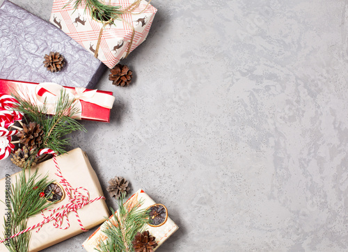 christmas gifts new year holiday bow boxes spruce branches decorations - How To Decorate A Christmas Tree With Ribbon Horizontally