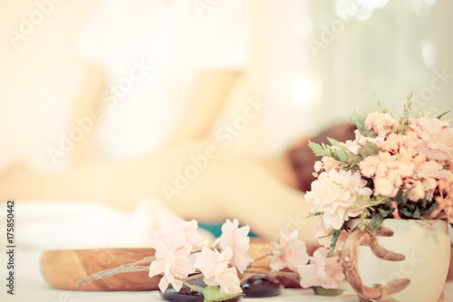 Poster Spa Spa flower and objects with massage background