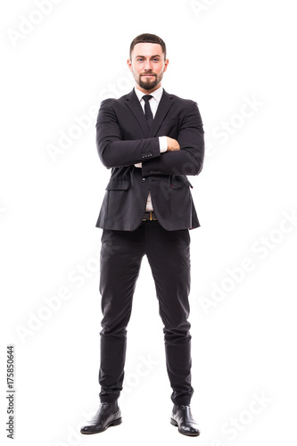 Fotografie, Obraz  full body picture of a business man with arms crossed on white background