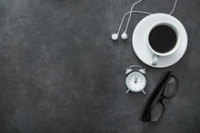 White Cup Of Coffee With Headphone