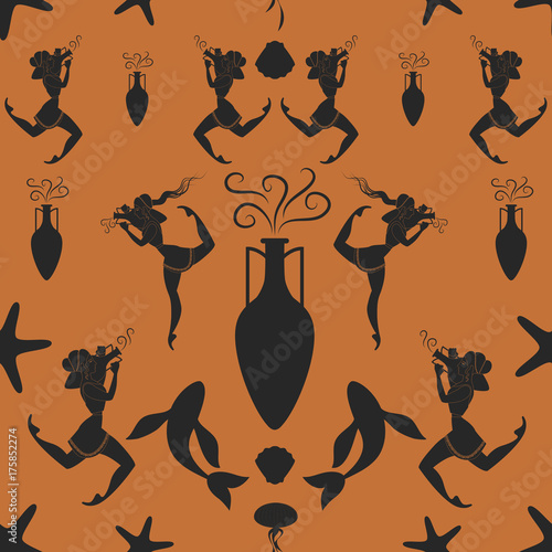 Pattern of ancient Greek girl carrying an amphora surrounded by Mediterranean se Canvas Print